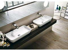 - Countertop rectangular ceramic washbasin PASS | Rectangular washbasin - CERAMICA FLAMINIA