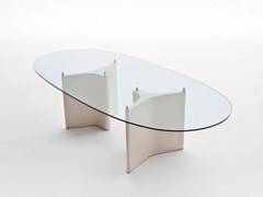 - Oval wood and glass table TEE | Oval table - Segis