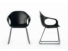 - Sled base tanned leather chair ELEPHANT - Kristalia