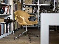 - Tanned leather chair with 4-spoke base ELEPHANT | Tanned leather chair - Kristalia