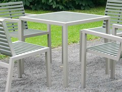 - Square stainless steel and PET garden table COMFONY 10 | Square table - BENKERT BÄNKE