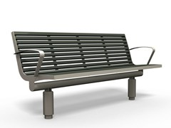 - Stainless steel and PET Bench with armrests COMFONY 400 | Bench with armrests - BENKERT BÄNKE