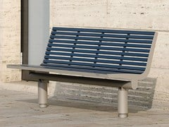- Stainless steel and PET Bench with back COMFONY 400 | Bench with back - BENKERT BÄNKE