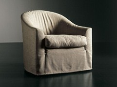 - Upholstered armchair with removable cover LENNY | Armchair - Meridiani