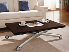 - Height-adjustable wooden coffee table with casters ESPRIT - DOMITALIA