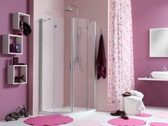 - Corner shower cabin with hinged door WEB 2.0 R2B - MEGIUS