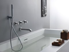 - Wall-mounted bathtub set with hand shower QUADRI - CRISTINA Rubinetterie