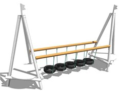 - Wooden Overhead ladder TYRE BRIDGE - Legnolandia