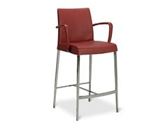 - Upholstered counter stool with armrests PERLA | Chair with footrest - Jori