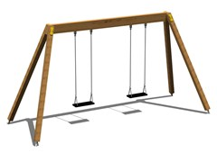 - Stainless steel and wood Seesaw DOUBLE YOUNG - Legnolandia