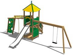 - Stainless steel and wood Play structure TORRE RENNA INOX - Legnolandia