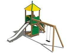 - Stainless steel and wood Play structure TORRE DAINO INOX - Legnolandia