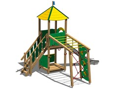 - Stainless steel and wood Play structure TORRE CERVO INOX - Legnolandia