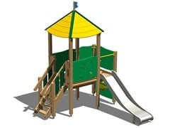 - Stainless steel and wood Play structure / Slide TORRE MARTORA INOX - Legnolandia