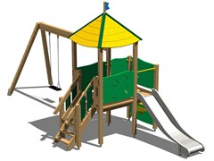 - Stainless steel and wood Play structure TORRE MARMOTTA INOX - Legnolandia