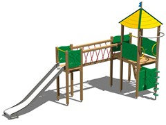 - Stainless steel and wood Play structure CASTELLO ALCE INOX - Legnolandia