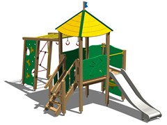 - Stainless steel and wood Play structure TORRE FAINA INOX - Legnolandia
