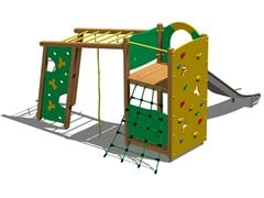 - Stainless steel and wood Play structure TORRE PUMA INOX - Legnolandia