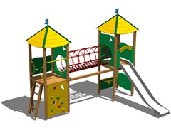 - Stainless steel and wood Play structure CASTELLO PAMPA INOX - Legnolandia