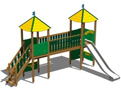 - Stainless steel and wood Play structure CASTELLO OASI INOX - Legnolandia