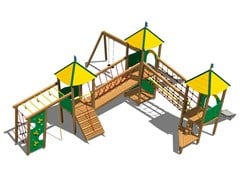 - Stainless steel and wood Play structure CASTELLO PRATERIA INOX - Legnolandia