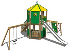 - Stainless steel and wood Play structure CASTELLO DOLOMITI INOX - Legnolandia