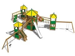 - Stainless steel and wood Play structure CASTELLO HIMALAYA INOX - Legnolandia