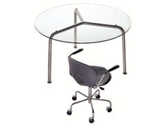 - Round crystal and steel table CONVITO | Round table - REXITE