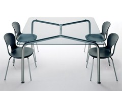 - Square crystal and steel table CONVITO | Square table - REXITE
