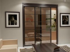 - Glass Sliding door with rails for suspended ceilings FLAT F5 - FOA