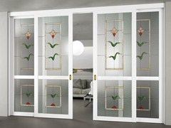 - Glass Sliding door with fixed lateral wings ALESSANDRA - FOA