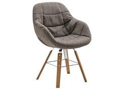 - Upholstered trestle-based easy chair with removable cover EVA 2266/R - Zanotta