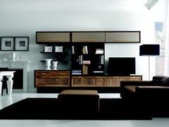 - Lacquered walnut TV wall system CONVIVIO | Storage wall - Martini Mobili