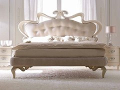- Leather double bed with upholstered headboard MELISSA SOFT - CorteZari