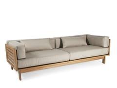 - Upholstered teak garden sofa FALSTERBO | 3 seater garden sofa - Skargaarden