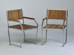 - Steel and wood chair with armrests MARIN | Steel and wood chair - Lgtek Outdoor