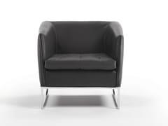 - Sled base leather armchair with armrests DAMA | Leather armchair - Giulio Marelli Italia