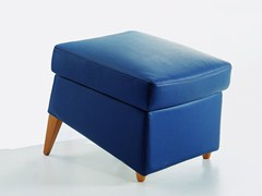 - Upholstered leather pouf KENT | Leather pouf - Giulio Marelli Italia
