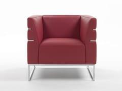 - Sled base upholstered armchair with armrests MADISON | Sled base armchair - Giulio Marelli Italia