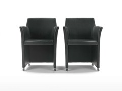 - Upholstered armchair with casters OSCAR   Armchair with casters - Giulio Marelli Italia