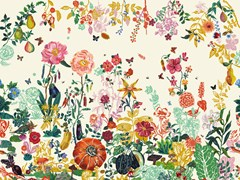- Wallpaper with floral pattern JARDIN CREME - Moustache