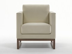 - Sled base upholstered leather armchair with armrests WOOD | Sled base armchair - Giulio Marelli Italia