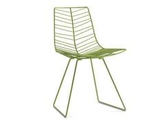 - Sled base steel garden chair LEAF | Sled base garden chair - Arper