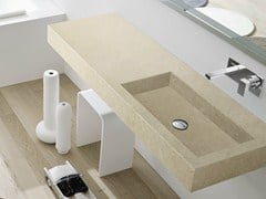 - Rectangular wall-mounted stone washbasin with integrated countertop UNICO | Stone washbasin - Rexa Design