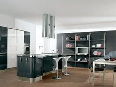 Fitted kitchen with island with handles KATIA | Fitted kitchen - Cucine Lube