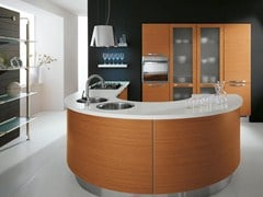 Ergonomic fitted kitchen with island KATIA | Wooden kitchen - Cucine Lube