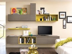 - Sectional wall-mounted storage wall LINDA | Wooden storage wall - Cucine Lube