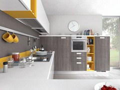 Lacquered wooden fitted kitchen with handles NOEMI | Fitted kitchen - Cucine Lube