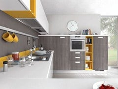 - Lacquered wooden fitted kitchen with handles NOEMI | Fitted kitchen - Cucine Lube