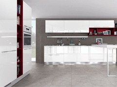Lacquered wooden fitted kitchen with handles NOEMI | Kitchen with handles - Cucine Lube